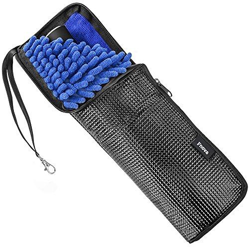 Fnova 傘カバー 改良版 超吸水 マイクロファイバー 傘ケース 2面吸水 折りたたみ傘用 (革製 38cm)
