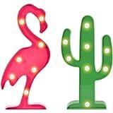 FuturePlusX Flamingo Cactus Table Lamp, Marquee Sign Lights Tropical Flamingo Cactus Night Light Party Cactus Decor