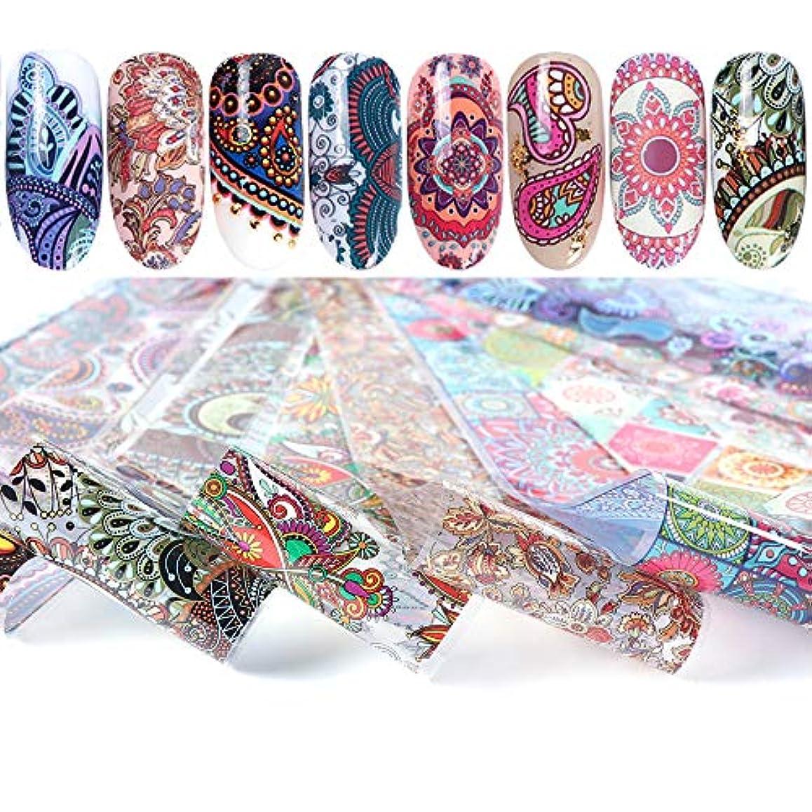 委任ラフ睡眠署名SUKTI&XIAO ネイルステッカー 10個ホログラフィックネイル箔セットネイルアート転写ステッカー4 * 20cm混合デザインネイルアートスライドマニキュア装飾