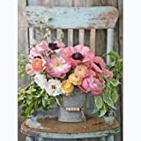 5D Full Round Drill Diamond Painting Kit, DIY Diamond Rhinestone Painting Kits for Adults Embroidery Arts Home Decor Flower P