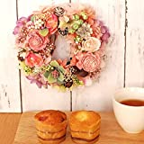 母の日ギフト リースプリザ+カップケーキセット (ピンク)