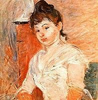 手描き-キャンバスの油絵 - Jeune Fille en Blanc Berthe Morisot 芸術 作品 洋画 ウォールアートデコレーション -サイズ07
