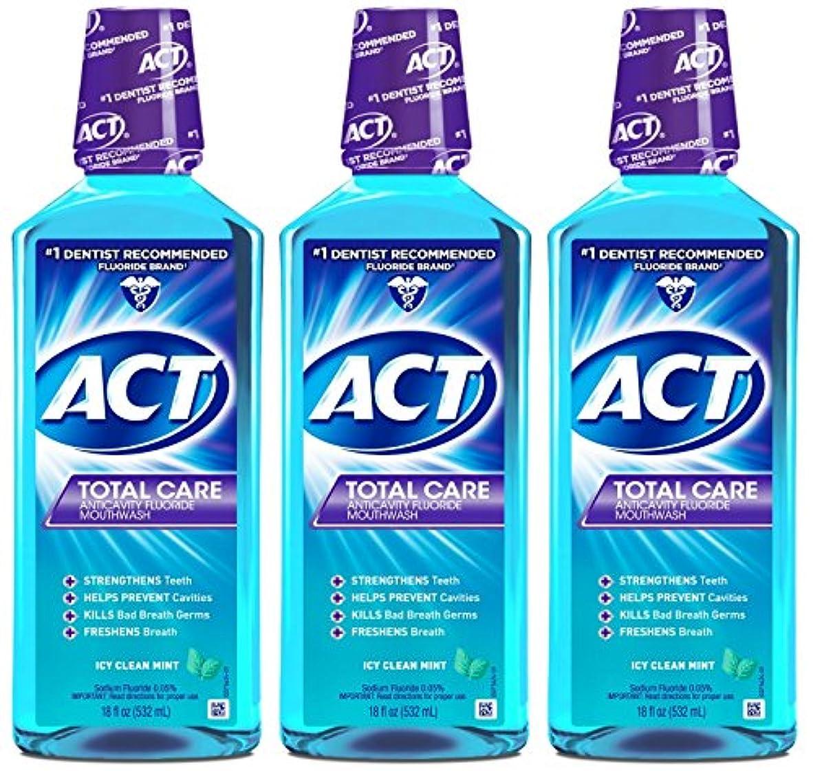 特権十効率的にACT トータルケア虫歯予防フッ素うがい薬アイシークリーンミント18オンス(4パック) 4パック