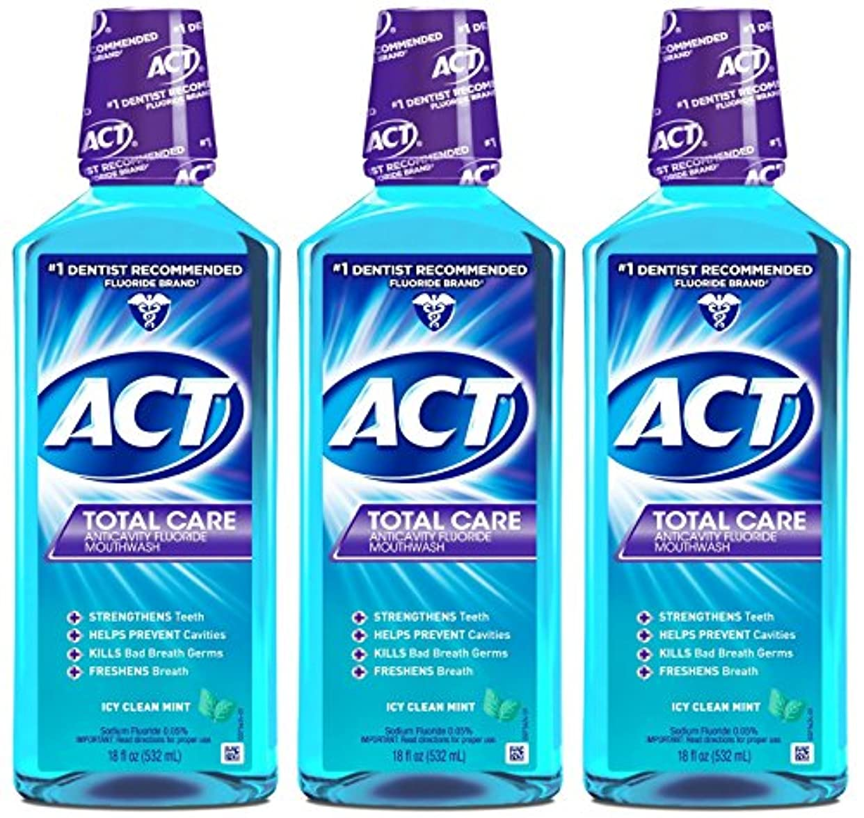 メタルライン絶え間ない電子ACT トータルケア虫歯予防フッ素うがい薬アイシークリーンミント18オンス(4パック) 4パック