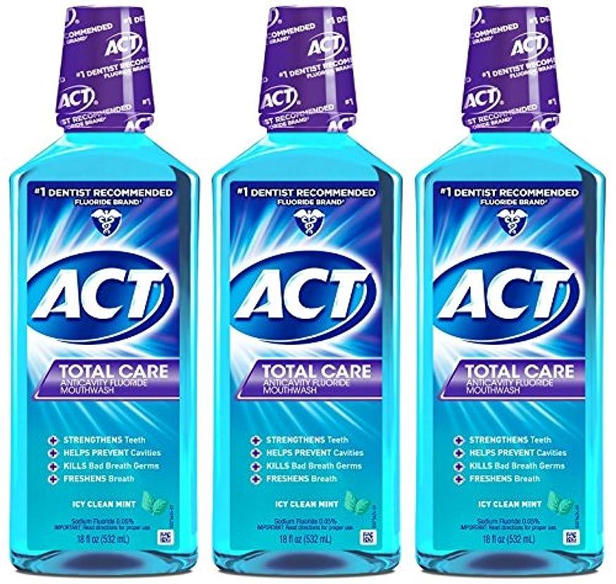 気候の山踏み台摂氏度ACT トータルケア虫歯予防フッ素うがい薬アイシークリーンミント18オンス(4パック) 4パック