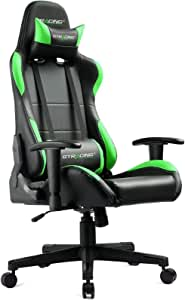 GTRACING ゲーミングチェア 緑 活気の雰囲気 オフィスチェア デスクチェア 多機能 ゲーム用チェア リクライニング パソコンチェア ハイバック ヘッドレスト ランバーサポート PUレザー (GTBEE-BREEN)
