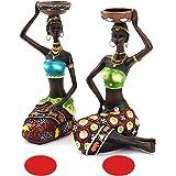 Mary Paxton 2PACK African Sculpture,Women Figure Girls Tribal Lady Figurine Statue Candlestick Collectible Art Piece Human De