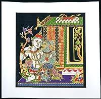 タイ民族絵画 布絵 シルク黒地 シルク絵画