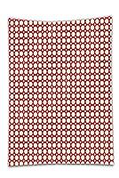 interestleeサテンドリルテーブルクロス?レトロBig and Small Polkaドットパターン対称幾何タイルデザインヴィンテージスタイル赤とクリームダイニングルームキッチン長方形テーブルカバーホームインテリア 20W x 40H Inches A-GDZBS-12388K51xG102