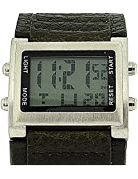 Retro Boys / Mens digitalクロノグラフGreen PU Wide Strap Sports Watch retro-10b