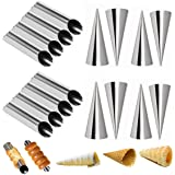 Set of 16 Stainless Steel Cannoli Tubes and Pastry Cream Horn Molds,Large Size DIY Baking Kit Cone Tubular Shaped Mold Tool f