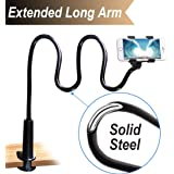 Cell Phone Clip On Stand Holder with Grip Flexible Long Arm Gooseneck Bracket Mount Clamp Compatible with Iphone X/8/7/6/6S P