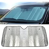 Flyme Car Front Windscreen Parasol Excellent UV Sun and Heat Reflector Easy to Use Sun Shade-Silver (140 * 70 cm)