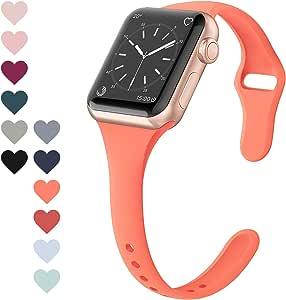 FRESHCLOUD コンパチブル Apple Watch バンド 38mm 40mm アップルウォッチ バンドスポーツバンド 交換ベルト 柔らかいシリコン素材 apple watch series 5 4 3 2 1対応 耐衝撃 防汗 (オレンジ)