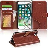 iPhone 8 Plus ケース 手帳型 iPhone 7 Plus ケース ワイヤレス充電対応 スマホケース 横置き機能 Arae カードポケット付き アイフォン8 7 プラス 用 財布型 ケース カバー(ブラウン)
