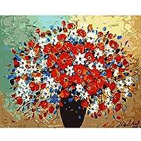 ZDDYX デジタル絵画額装写真diy抽象赤い花による手描きのキャンバス壁リビングルーム壁画家の装飾40x50cmでフレーム