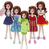 「Barwawa」ランダム5枚セット ドール用服 リカちゃん用ドレス 手作り カジュアル風 可愛い 人形ドレスセット
