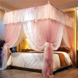 4 Corners Post Bed Curtain Canopy Bed Frame Canopies Princess Bed Canopy for Girls - Double Layer Contrast Color Mosquito Net