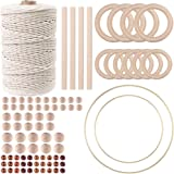 87pcs Macrame Kits for Beginners 3mm x 220yards Natural Cotton Macrame Cord Wall Hanging Kit, Best for Macrame Plant Hanger w