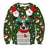 クリスマスクリスマスセーターバケーションサンタ3Dプリント犬女性男性トレーナーラウンドネックセーター