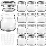 KAMOTA Mason Jars 8 oz with Regular Lids and Bands, Ideal for Jam, Honey, Wedding Favors, Shower Favors, Baby Foods, DIY Magn