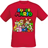 Men's Super Mario Characters Group Pose Red T-Shirt