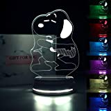 Snoopy Lamp 3D Optical Illusion LED Nightlight Touch Switch Desk Lamp with 7 Changing Colors Acrylic Flat Desk Lamp with USB