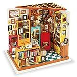 ROBOTIME DIY ドールハウス 本で山積みのサムの本屋さん/SAM'S STUDY 朝と夜 手作りキット DG102 LED付属-サムの本屋