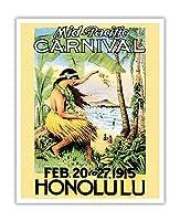 1915ミッドパシフィック・カーニバル - ホノルル、ハワイ - ビンテージなカーニバルのポスター c.1915 - アートポスター - 41cm x 51cm