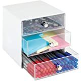 mDesign Plastic Home Office 3 Drawer Cube Storage Organizer - Desktop Organization for Office Supplies, Gel Pens, Pencils, Ma