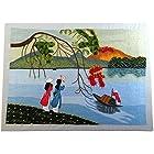【ノーブランド品】 刺繍絵 アート ベトナム 雑貨 ハンドメイド 作品 小舟を見送るアオザイ美人