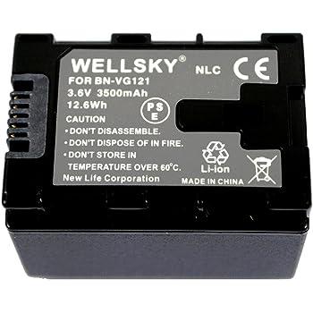 [WELLSKY] [ Jvc Victor ビクター Everio エブリオ ] BN-VG121 / BN-VG129 互換バッテリー [ 純正充電器で充電可能 残量表示可能 純正品と同じよう使用可能 ] GZ-MS210 / GZ-MG980 / GZ-HD620 / GZ-HM350 / GZ-HM450 / GZ-HM570 / GZ-HM670 / GZ-HM690 / GZ-HM880 / GZ-HM890 / GZ-HM990 / GZ-MS230 / GZ-E265 / GZ-E225 / GZ-E220 / GZ-G5 / GZ-EX270 / GZ-EX250 / GZ-E280 / GZ-E320 / GZ-E325 / GZ-E345 / GZ-EX350 / GZ-EX370 / GZ-E565 / GV-LS1 / GV-LS2 / GZ-N1 / GZ-N5 等対応