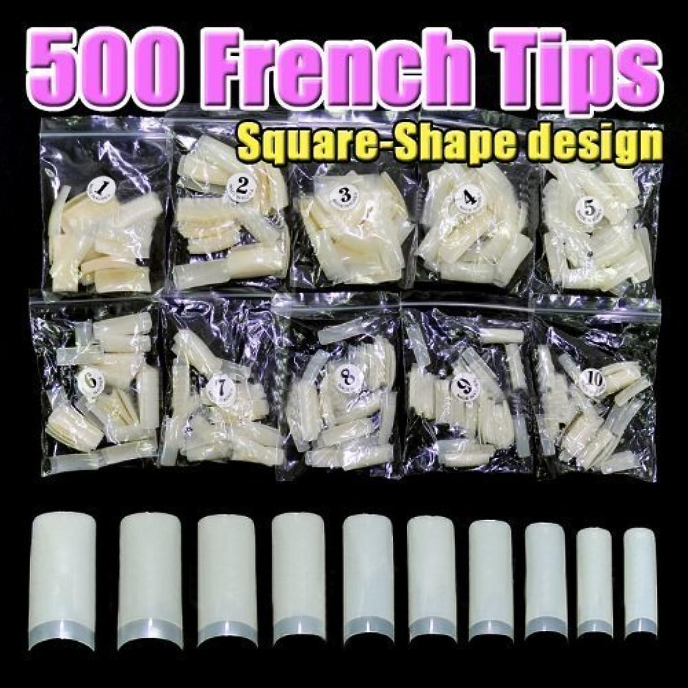 無人評議会わかりやすい500 pcs New Professional French false nails for acrylic nail art tips design decoration (Square)