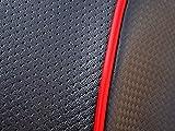 シグナスX (2型・SE44J/SE46J) 国産厚手素材 カスタムシートカバー ブラック/カーボン(レッドパイピング)取り付け簡単口ゴム式 SE44-BLACK/RED
