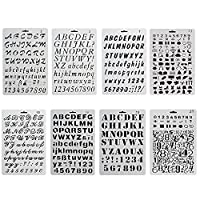COCODE Plastic Bullet Journal Stencil Template Set of 8 with Letters Number Alphabet Pecfect for Planner/Notebook/Diary/Scrapbook/Journaling/Graffiti/Card DIY Drawing Painting Craft Projects