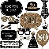 大人用80th Birthday – ゴールド – 写真ブース小道具キット – 20カウント