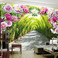 LJJLM 3D壁画の壁紙リビングルームの寝室のソファの背景の壁紙庭の花の花のドアギャラリー拡張スペースの壁紙-420X280cm