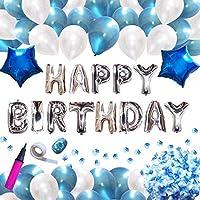IGRESS 誕生日 飾り付け バルーン 大容量 特大 バースデー アルミ バルーン 装飾セット ハンドポンプ・両面テープ付き ブルー&ピンク 特大スター/風船2色/花びら/飾付け/デコレーション (ブルー)