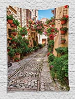 Ambesonne Tuscan Decor Collection, Historical Mediterranean Street Full of Flowers in Town in Italy in Sunny Day, Bedroom Living Kids Girls Room Dorm Accessories Wall Hanging Tapestry, Red Pink Green [並行輸入品]