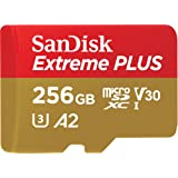 SanDisk Extreme Plus 256 GB microSDXC Memory Card + SD Adapter with A2 App Performance up to 170 MB/s, Class 10, U3, V30, Red