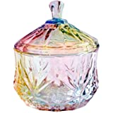 FLYING BALLOON Elegant Embossed Colorful Crystal Glass Candy Box with Lid Food Jewelry Box Storage Jar Best Gift for Family F