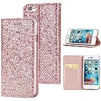 iPhone 6 Plus iPhone 6s Plus レザーケース、Phoebe カード収納ホルダー 財布型 落下防止 衝撃吸収 iPhone 6 Plus iPhone 6s Plus ケース(Rose Gold)