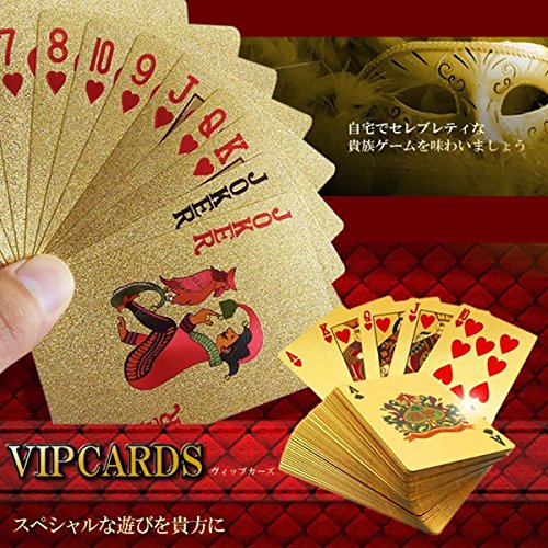 ZooooM ゴールド トランプ 金 色 カッコイイ 遊び 格好いい ポーカー 大人 カラー マジック おもしろ 面白 豪華 カード 大富豪 卓上 遊戯 手品 家族 友人 パーティー テーブル ゲーム インテリア 持ち運び コンパクト ZM-GOTORA
