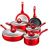 Nonstick Pots and Pans Set, Cookware Sets 10 Pieces, Chemical-Free Kitchen Cooking Sets with Stay-Cool Handle, Induction Sauc