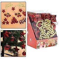 Weryn(TM) 28Pcs /パッククリスマスオーナメントギフトボックススパークリングボールスタークリスマスツリーの装飾のためのハンギングペンダント[赤]