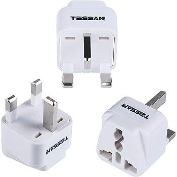海外 変換プラグ BFタイプ TESSAN コンセント変換 アダプター 海外旅行用 電源変換プラグ ユニバーサル プラグ イギリス/香港/インド等の国に対応 3個セット ホワイト