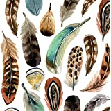 """Paperproducts Design PPD 1252524 Aquarell Feathers Beverage/Cocktail Paper Napkins,5""""x5"""", Multicolor"""