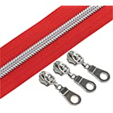 (Silver Red) - YaHoGa 5 Silver Metallic Nylon Coil Zippers by The Yard Bulk Red Tape 10 Yards with 25pcs Sliders for DIY Sewi