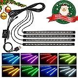 Wsiiroon 車 60LED RGB テープライト USB式 車内装飾用 音に反応 防水 全8色に切替 高輝度 フットランプ 足下照明 リモコン付き