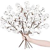 Meiliy Cotton Stems Bulk 6 Pcs 10 Balls Artificial Cotton Branches Farmhouse Decor Floral Display Filler Flower Bouquet Home